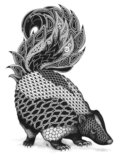 "Paisley Skunk | Kristin Moger ""Seriously Fun Art"""