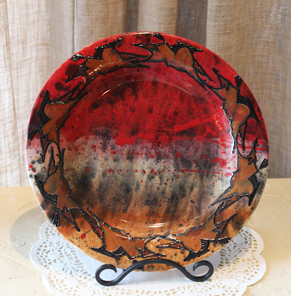 Cave Art Round Dinner Plate in Red