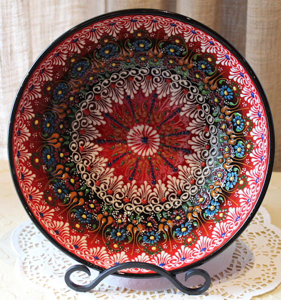 "10"" Hand-Painted Turkish Bowl Red & Black"