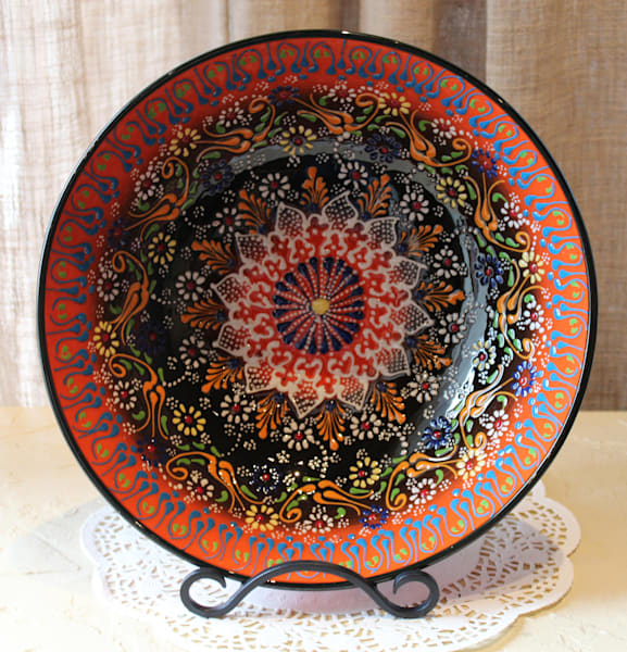 "12"" Hand Painted Turkish Bowl Orange 