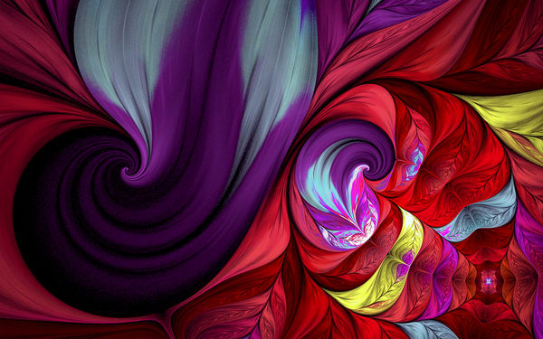 Lovely Swirl Red Lavender Abstract by Karlana Pedersen