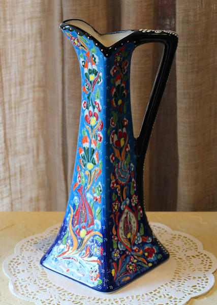 Blue Turkish Hand-Painted Pitcher