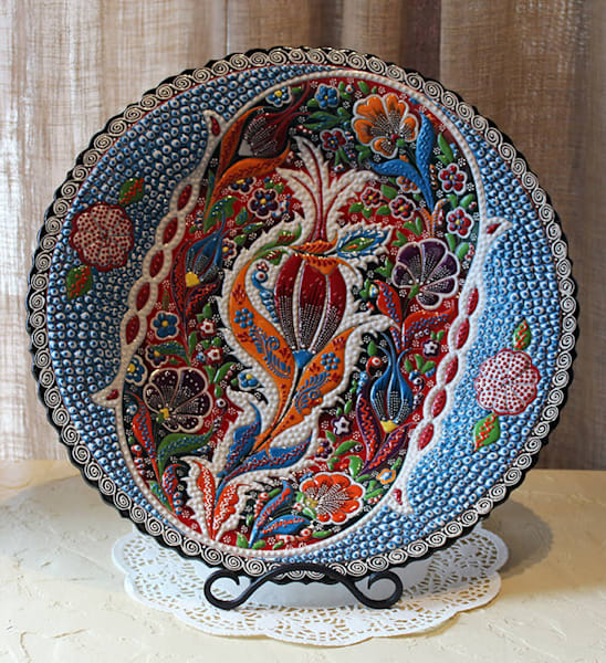 "16"" Turkish Hand Painted Bowl In Blue Art by www.madaras.com"
