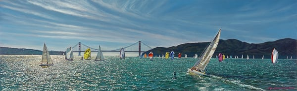 Sailing The Golden Gate Panoramic Art | The Huntington Studio
