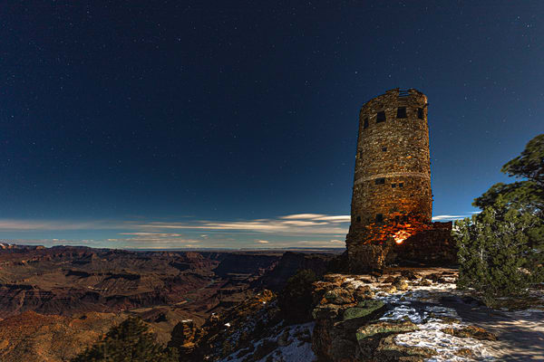 Grand Canyon, Watchtower, stars, snow, night