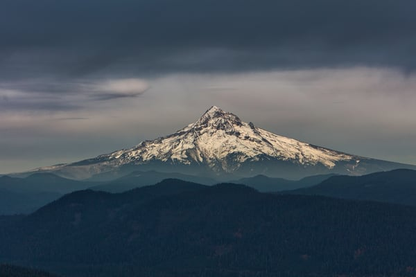 A view of Mount Hood from another mountaintop in Oregon