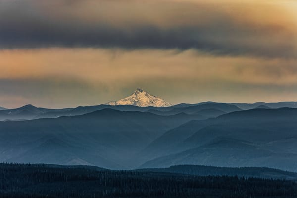 Mount Jefferson as seen from another mountain top in Oregon durning the Fall