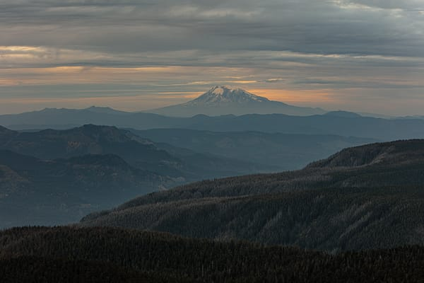 Mount Rainier in Washington state as seen from a mountain top in Oregon
