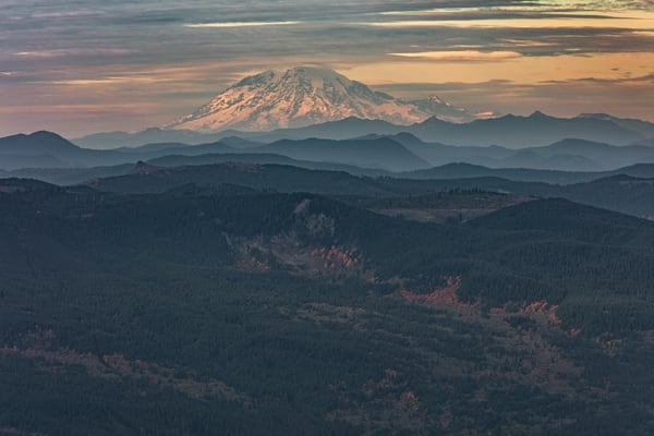 Mount Adams in Washington State as seen from a mountain top in Oregon