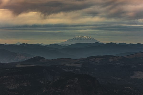 Looking at Mount St Helens from a mountain top in Oregon