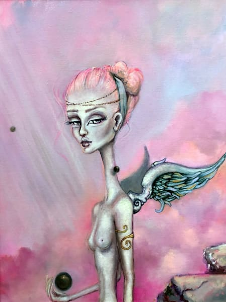 LONG NECK PINK WINGS BUBBLES ANGEL