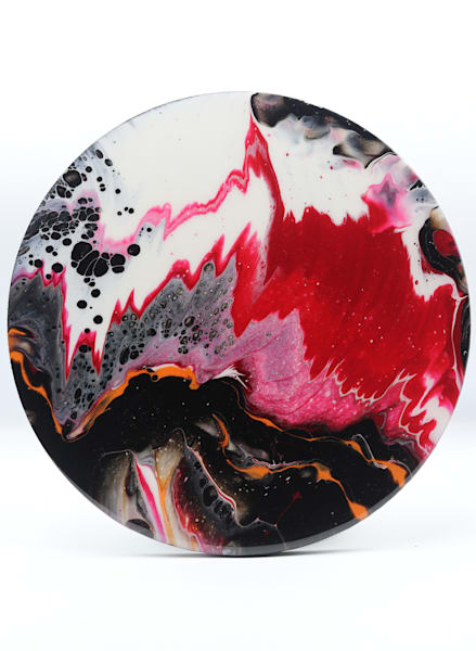 Acrylic Dragon Pour Painting - Round Series