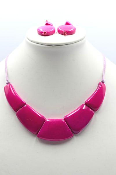 Handmade Tagua Nut Jewelry Necklace Earrings Set
