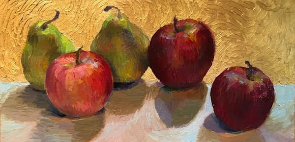 Still Life With Apples, Pears And Gold Art | Fountainhead Gallery