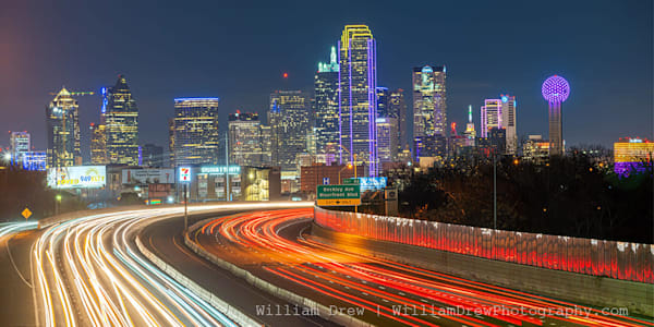 Dallas Skyline and Freeway - Cityscape Wall Mural