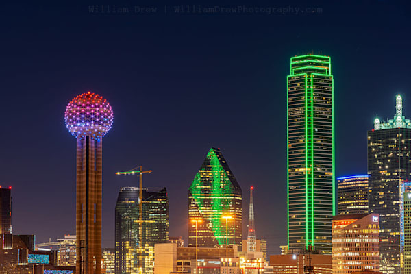Dallas Skyline at Night in January - Dallas Wall Mural