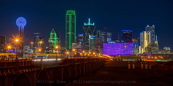 South Houston Street Bridge View of Dallas Skyline - Dallas Wall Mural