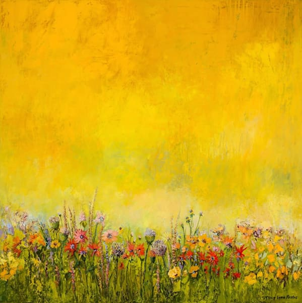 Golden Summer Wildflower Oil Painting