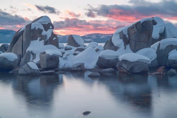 Zephyr Snowy Rocks Sunset Art | Benko Art Gallery