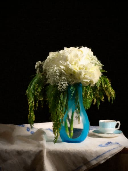 White Flowers with Evergreens, Still life, Ben Fink art prints, photography