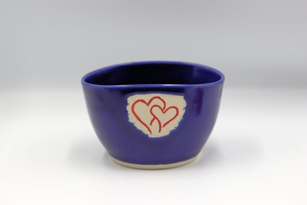 Royal Blue Ceramic Bowl with Hearts Pottery Clay