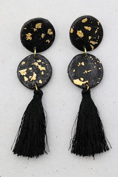 Handmade Black Gold Polymer Clay Earrings