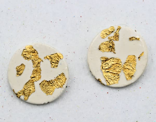 Handmade White and Gold Polymer Clay Earrings