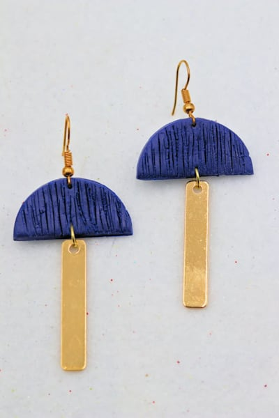 Handmade Blue Gold Metal Polymer Clay Earrings