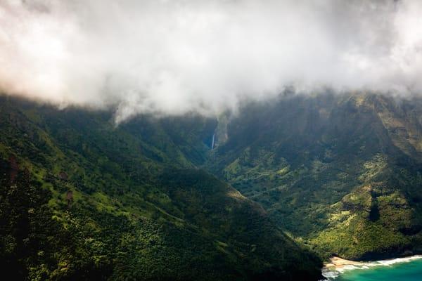 kauai, rain forest, beach, clouds