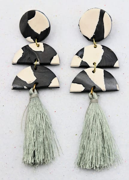 Handmade White Gray Polymer Clay Earrings Tassels