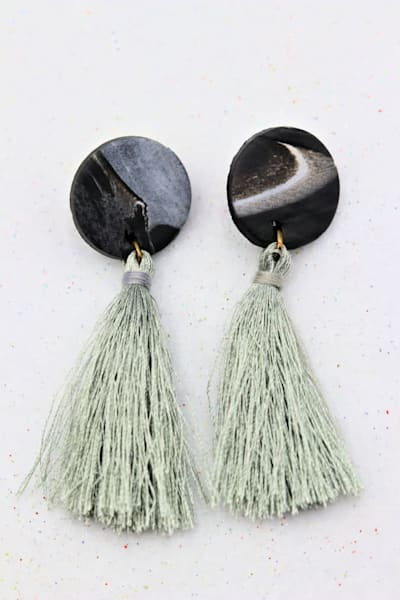 Handmade Gray Polymer Clay Earrings