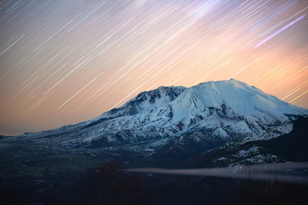 Mt. St. Helens Snowy Star Trails Astrophotography