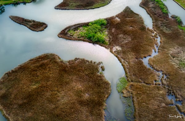 Alabama lagoon from 400 feet overhead from a drone, by Thomas Wyckoff. 2020.