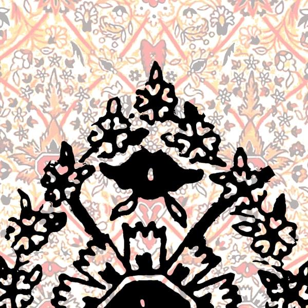 Shah Abbasi Rug Flower Arch Art | Elena Lipkowski Fine Arts, LLC