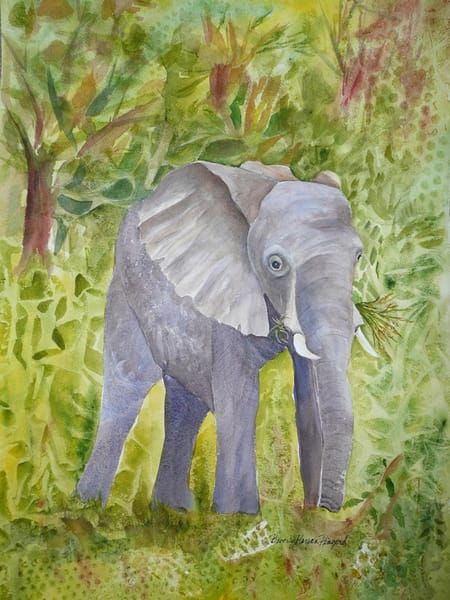 Elephant Grazing, From an Original Watercolor Painting