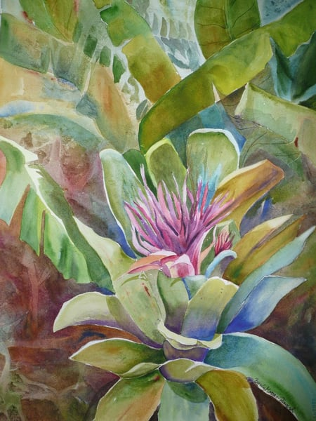 Lonely Bromeliad, From an Original Watercolor Painting