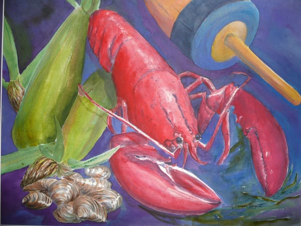 Lobster Dinner, From an Original Watercolor Painting