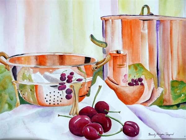 Copper in the Kitchen, From an Original Watercolor Painting