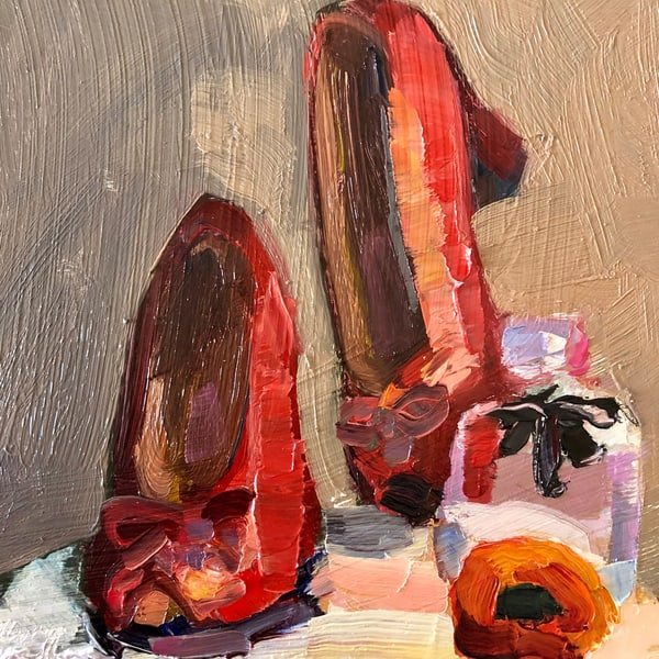 """Still Life With Red Vintage Heart Shoes Perfume and Ranunculus"" still life expressionist oil painting.by Monique Sarkessian."