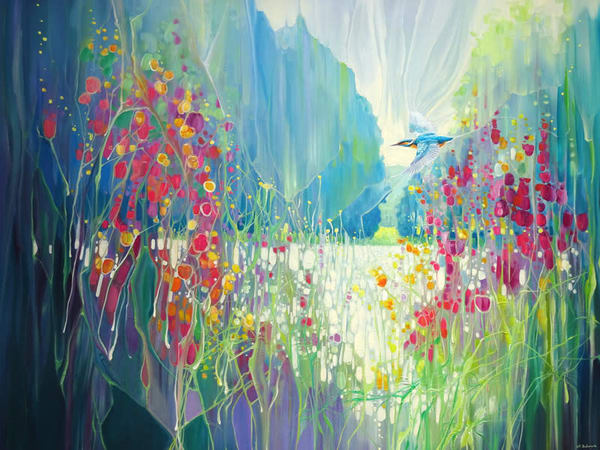 a large semi abstract landscape oil painting of a kingfisher flying along a riverbank lined by wildflowers