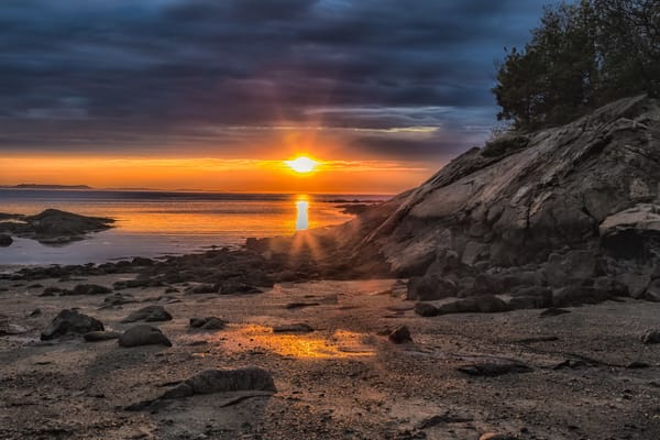 Plum Cove Sunset Rocks  Art by capeanngiclee