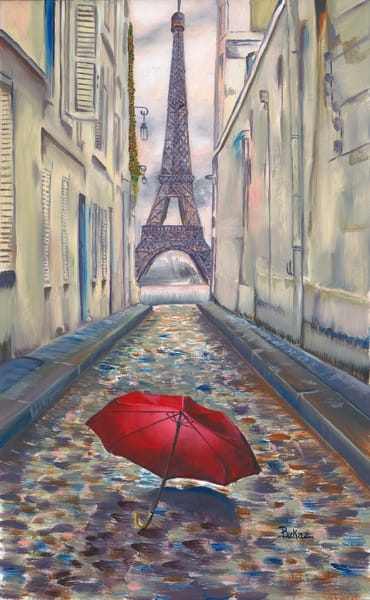 Eiffel Tower Paris Painting Red Umbrella Rain