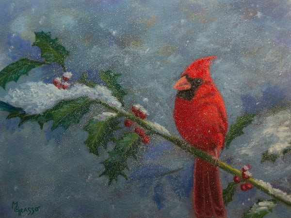 Cardinal And Holly Art | Mark Grasso Fine Art
