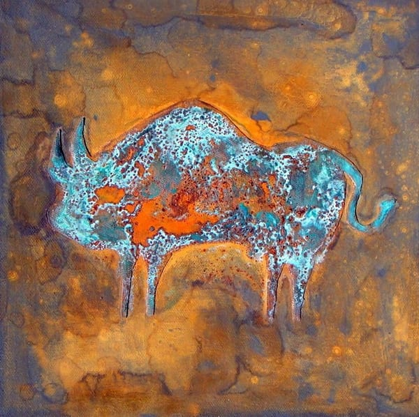 Rusty Bull Cave Painting Mirrored Art | Wet Paint NYC