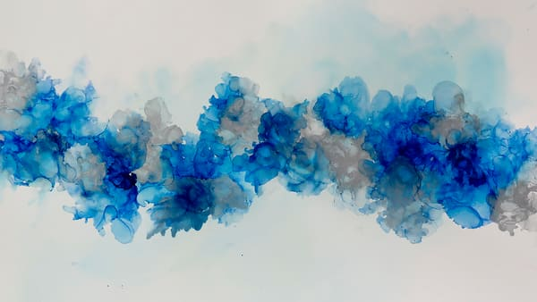 Arrangement in Blue and Gray- Alcohol Inks by Terry Rosiak