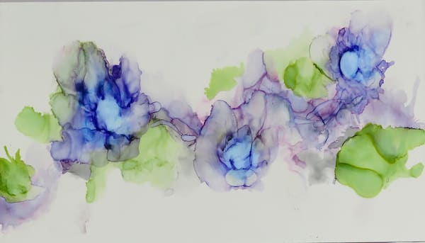 Alcohol Ink of Flowers doing a Blue Dance by Terry Rosiak