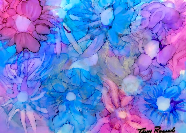 Flowers in Pink and Blue, an Abstract by Terry Rosiak