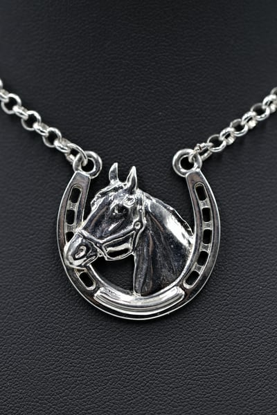 Sterling Silver Horseshoe Horse Head High Polish Finish Pendant Necklace