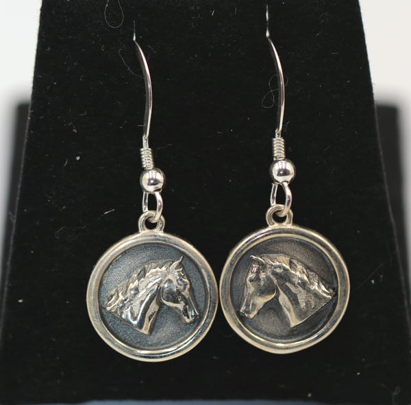 Sterling Silver Horse Head Dangle Earrings High Polish Finish
