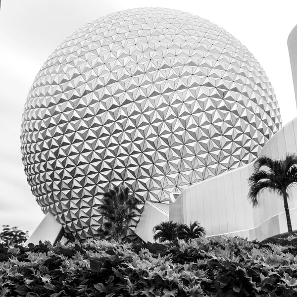 EPCOT Giant Golf Ball Black and White - Disney Black and White Images